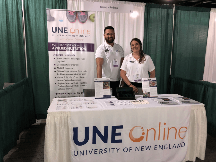 UNE Online Applied Nutrition booth at 2018 SNEB Conference