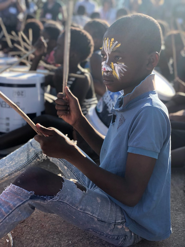 South African boy drumming